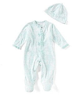Image of Little Me Baby Girls Preemie-9 Months Damask-Print Footed Coverall & Beanie Hat Set