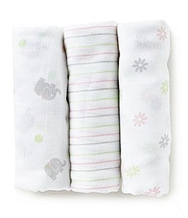 Image of Little Me Baby Girls Sweet Elephant 3-Pack Muslin Swaddle Blankets