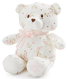 "Image of Little Me Baby Girls Vintage Rose 10"" Plush Teddy Bear"