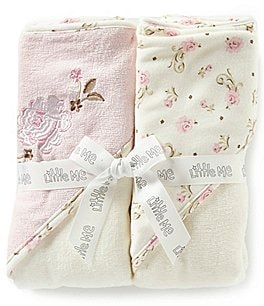 Image of Little Me Baby Girls Vintage Rose 2-Pack Hooded Towel Set