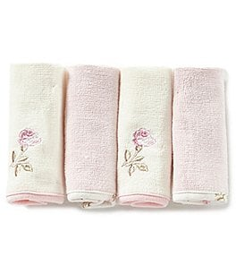 Image of Little Me Baby Girls Vintage Rose 4-Pack Washcloth Set