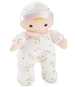 "Image of Little Me Baby Girls Vintage Rose 7"" Plush Doll Rattle"