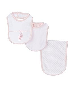 Image of Little Me Ballerina Bib & Burp Cloth 3-Piece Layette Set