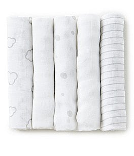 Image of Little Me Clouds Print 5-Pack Muslin Cloths