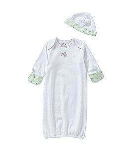 Image of Little Me Baby Girls Newborn-3 Months Petite Roses Gown & Hat Set