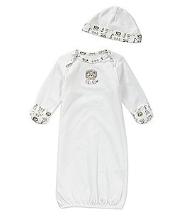 Image of Little Me Baby Girls/Boys Newborn-3 Months Safari Gown & Hat Set