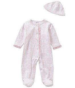 Image of Little Me Preemie-9 Months Damask-Print Footed Coverall & Hat Set