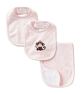 Image of Little Me Pretty Monkey 3-Piece Bib & Burp Cloth Set