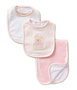 Image of Little Me Sweet Bear 3-Piece Bib & Burp Cloth Set