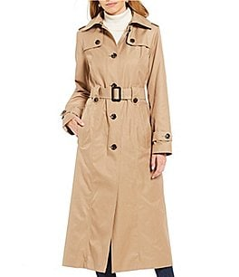 Image of London Fog Belted Long Water Repellent Trench