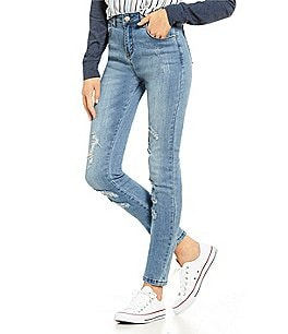 Image of Maddie Mid-Rise Distressed Skinny Jeans
