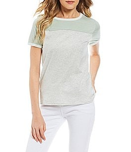 Image of Maddie Short-Sleeve Color Block T-Shirt