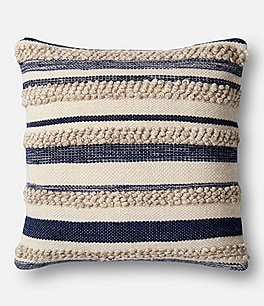 Image of Magnolia Home by Joanna Gaines Zander Textured Striped Oversized Square Feather Pillow