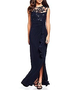 Image of Marina Cap-Sleeve Embroidered Gown