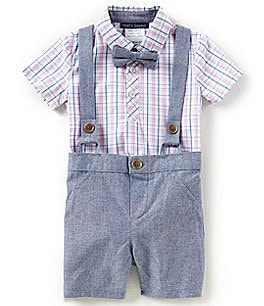 Image of Matt's Scooter Baby Boys 12-24 Months Plaid Bodysuit, Chambray Shorts & Bow Tie Set