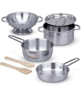 Image of Melissa & Doug Let's Play House Stainless Steel Pots & Pans Play Set