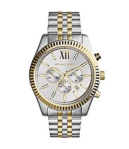 Image of Michael Kors Men's Lexington Two-Tone Stainless Steel Chronograph Bracelet Watch