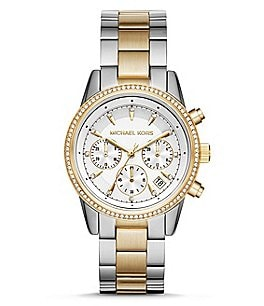 Image of Michael Kors Ritz Chronograph & Date Two-Tone Bracelet Watch