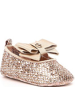 Image of MICHAEL Michael Kors Girls' Baby Day Sparkle Ballet Bow Detail Crib Shoes