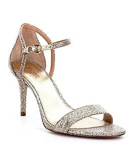 Image of MICHAEL Michael Kors Simone Glitter Ankle Strap Dress Sandals