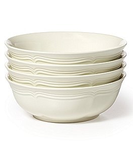 Image of Mikasa French Countryside Rippled Baroque Stoneware Cereal Bowls, Set of 4