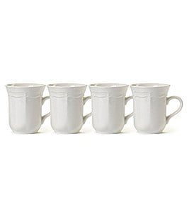 Image of Mikasa French Countryside Rippled Baroque Stoneware Mugs, Set of 4