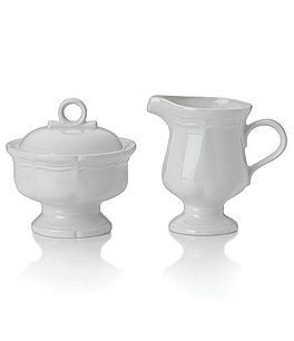 Image of Mikasa French Countryside Rippled Baroque Stoneware Sugar Bowl & Creamer Set