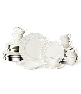 Image of Mikasa Italian Countryside Accents Embossed Floral Stoneware 40-Piece Dinnerware Set