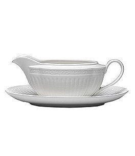 Image of Mikasa Italian Countryside Ridged Floral Stoneware Gravy Boat with Stand
