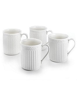 Image of Mikasa 4-Piece Italian Countryside Ridged Floral Stoneware Mug Set