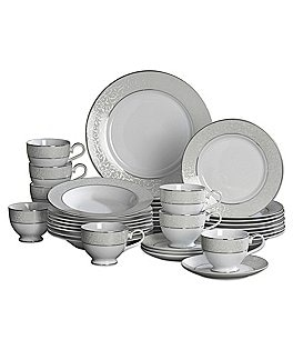 Image of Mikasa Parchment Ivy Scroll Platinum Porcelain 40-Piece China Set