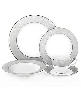 Image of Mikasa Parchment Ivy Scroll Platinum Porcelain 5-Piece Place Setting
