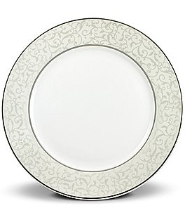 Image of Mikasa Parchment Ivy Scroll Platinum Porcelain Salad Plate