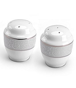Image of Mikasa Parchment Ivy Scroll Platinum Porcelain Salt & Pepper Shaker Set