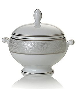 Image of Mikasa Parchment Ivy Scroll Platinum Porcelain Sugar Bowl with Lid