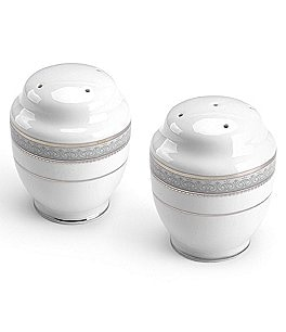 Image of Mikasa Platinum Crown Filigree Porcelain Salt & Pepper Shaker Set