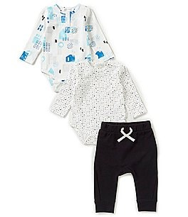 Image of Miles Baby Baby Boys 3-9 Months Printed 2-Pack Bodysuit & Pants Layette Set