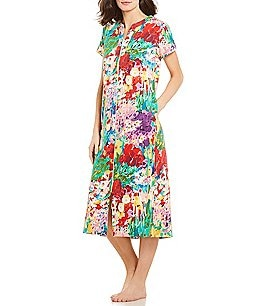 Image of Miss Elaine Floral-Print Interlock Zip-Front Long Robe