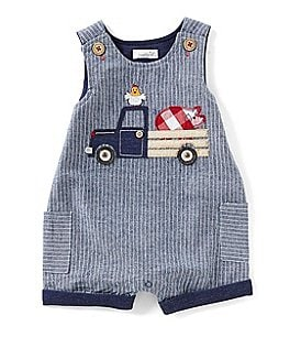 Image of Mud Pie Baby Boys 9-18 Months Farmhouse Chambray Shortall