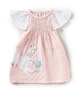 Image of Mud Pie Baby Girls 6-18 Months Easter Bunny Dotted Dress