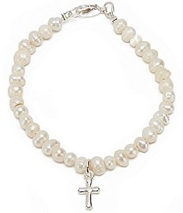 Image of Mud Pie Baby Girls Freshwater Pearl Cross Bracelet