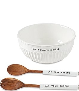 Image of Mud Pie Don't Stop Be Leafing Salad Bowl Set
