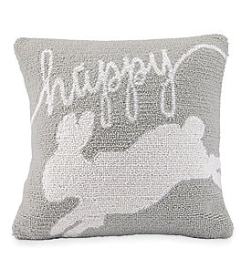 Image of Mud Pie Easter Collection Happy Bunny Hooked Pillow