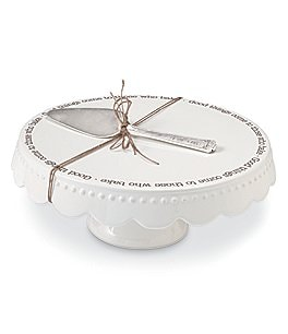 Image of Mud Pie Festive Fall Collection Good Things Pedestal Cake Plate Set