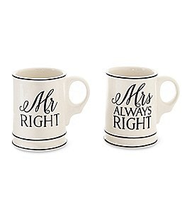 Image of Mud Pie Mr. & Mrs. Right Wedding Mug Set