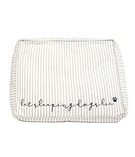 Image of Mud Pie™ Mud Puppy Collection Let Sleeping Dogs Lie Striped Chambray Dog Bed