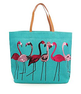 Image of Mud Pie Sequined Flamingo Jute Tote