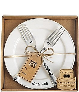Image of Mud Pie Wedding Collection Mr. & Mrs. Cake Testing Plate with 2 Forks