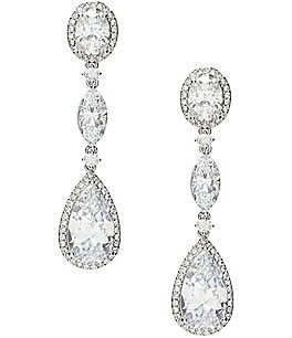 Image of Nadri Oval Cubic Zirconia Drop Earrings