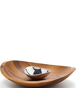 Image of Nambe Braid Acacia Wood Chip & Dip Server